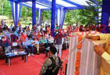 Union Minister Dr Jitendra Singh addressing a gathering at Mansar on Sunday. -Excelsior/Nischant