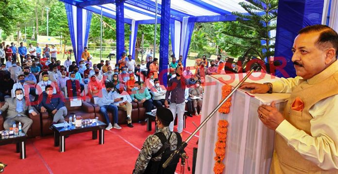 Union Minister Dr Jitendra Singh addressing a gathering at Mansar on Sunday. -Excelsior/Nischant
