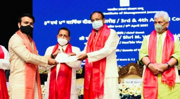 Vice President M Venkaiah Naidu along with Union Minister Dr Jitendra Singh and Lt Governor Manoj Sinha awarding degrees to pass-outs during convocation of IIM Jammu on Friday.