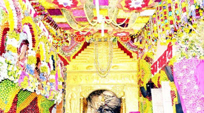 Beautifully decorated Durbar of Mata Vaishno Devi Ji on Tuesday.
