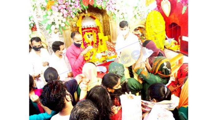 Devotees paying obeisance at Bawe Wali Mata Shrine in Jammu on first Navratra on Tuesday. -Excelsior/Rakesh