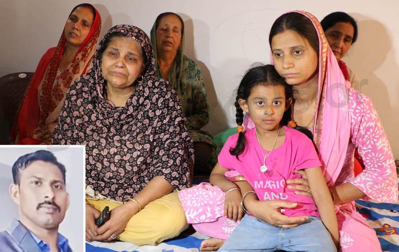 Family members of CRPF jawan Rakeshwar Singh Charak (inset) in deep sorrow at their house in Barnai area of Jammu on Monday. —Excelsior/Rakesh