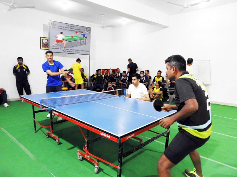 Players in action during the Table Tennis match at Samba.