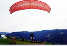 Paraglider taking off for flight at Panchai during trials. -Excelsior/ Rafi Choudhary.