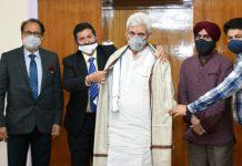 Office bearers of Rotary International felicitating Lieutenant Governor Manoj Sinha at Raj Bhavan in Jammu on Friday.