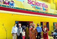 Principal Bharti Bhardwaj along with other dignitaries during inaugural ceremony of playway 'Scientia First Step' at Muthi.
