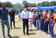 ADGP Mukesh SIngh interacting with team players during inaugural ceremony of 3rd PPCPL at Jammu on Sunday.