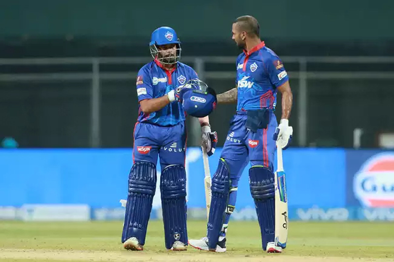 Shikhar Dhawan & Prithvi Shaw having discussion during match at Mumbai on Saturday.