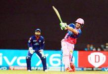 David Miller playing a shot against Delhi Capitals at Wankhede Stadium Mumbai on Thursday.