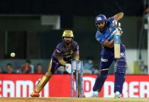 Rohit Sharma Captain playing a shot against Kolkata Knight Riders at M A Chidambaram Stadium, Chennai on Tuesday.