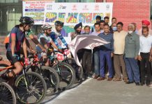 DG Youth Services and Sports, Dr Saleem-Ul-Rehman flagging off Cycling race along with others at Jammu.