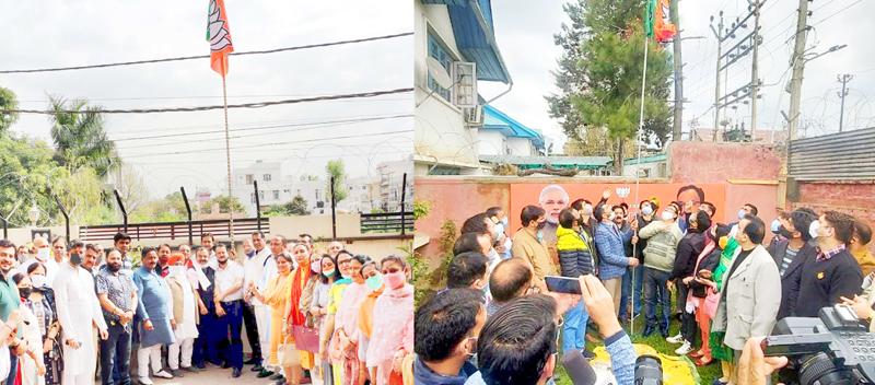 BJP leaders hoisting party flag at Jammu (L) and Srinagar (R) on Tuesday.