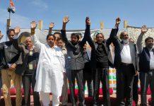 Senior Cong leaders G A Mir, Raman Bhalla, Mula Ram and others at Panchayat Conference in Anantnag. -Excelsior/Sajad Dar
