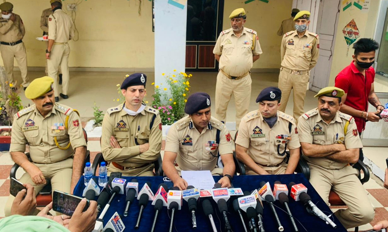 SSP Jammu Chandan Kohli interacting with media persons.