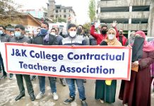 College contractual teachers during a protest in Srinagar. -Excelsior/Shakeel