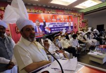 Apni Party president, Altaf Bukhari addressing party function at Sarore in Samba on Saturday.