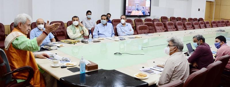 Lt Governor Manoj Sinha chairing a meeting on Wednesday.