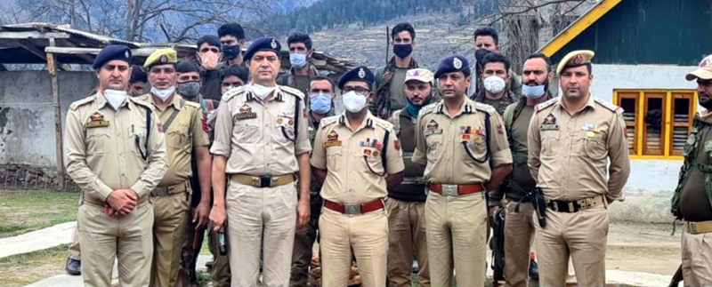 IGP Jammu Zone Mukesh Singh and other officers posing for group photograph.
