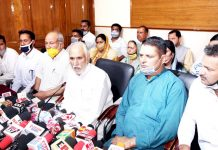 Former MP and ex-president J&K BJP Shamsher Singh Manhas addressing a press conference at Jammu on Monday. -Excelsior/Rakesh