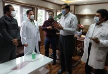 Principal Secretary I&C, Rajan Prakash Thakur interacting with officers at SKIMS Soura in Srinagar.
