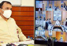 Principal Secretary Nitishwar Kumar during meeting with DCs through video-conferencing.