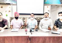 Members of ADCSA during a press conference at Jammu.