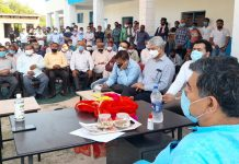 MP Jugal Kishore Sharma addressing a meeting at Dansal on Saturday.