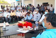 MP Jugal Kishore Sharma addressing a meeting at Dansal on Saturday.