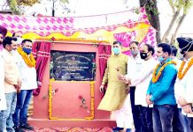 MP Jugal Kishore Sharma inaugurating PMGSY road in Badhori, Samba on Sunday. -Excelsior/Nischant