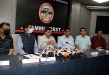 JCCI president, Arun Gupta flanked by other office bearers addressing press conference in Jammu on Saturday. —Excelsior/Rakesh