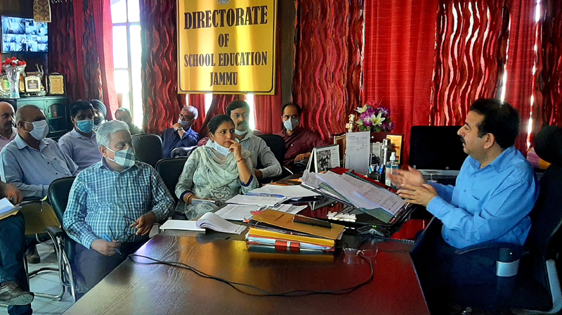 DSEJ chairing a review meeting at his office on Wednesday.