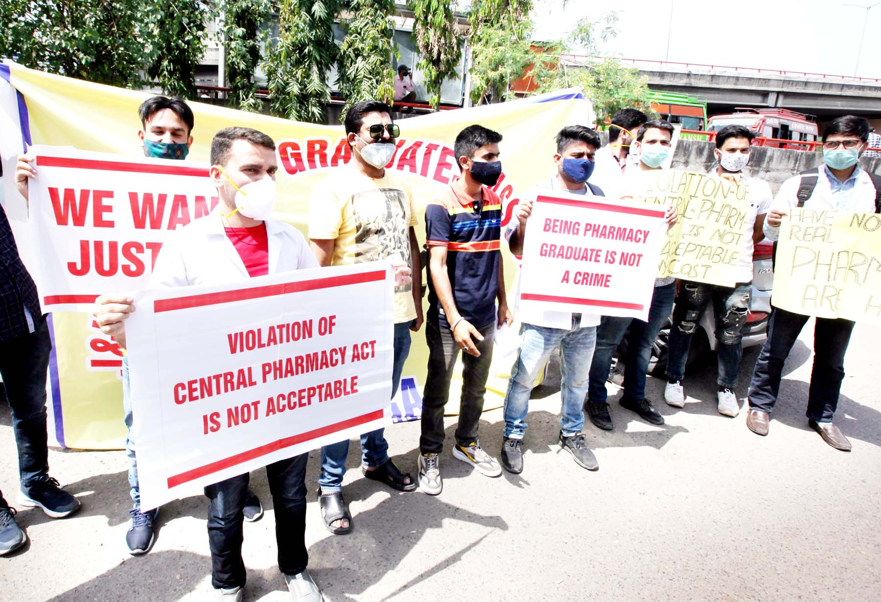Pharmacy Graduates during a protest demonstration in Jammu. -Excelsior/Rakesh