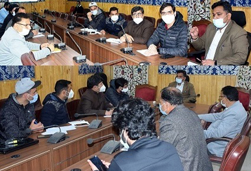 Dy Commissioner, Dr Piyush Singla at a meeting in Anantnag on Monday.