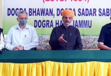 DSS president, Gulchain Singh Charak addressing a press conference at Jammu on Saturday.