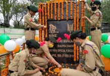 NCC cadets decorating statue of martyr Tushar Mahajan at Udhampur on his 32nd birth anniversary.
