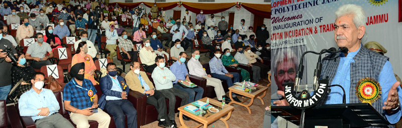 Lt Governor Manoj Sinha addressing gathering during inauguration of CIIT in Jammu on Monday.