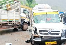 Tempo and truck after collision on Arnas-Reasi road on Saturday.