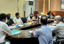Divisional Commissioner Dr Raghav Langer chairing a meeting on Saturday.
