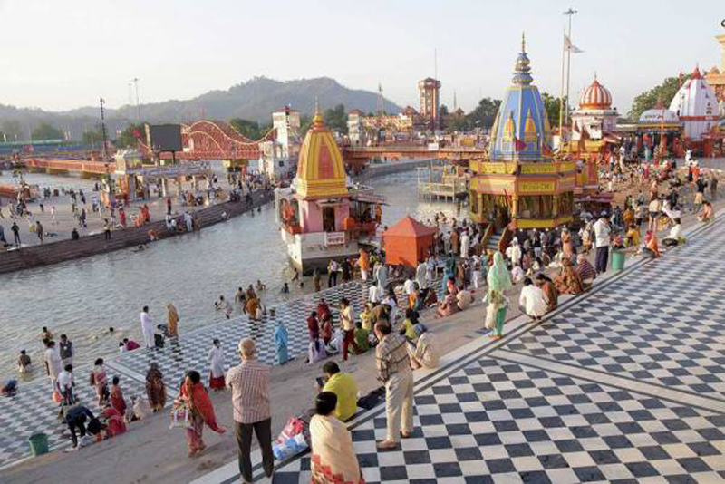 Devotees gather for the last Shahi Snan of Kumbh 2021 on the day of Purnima, or full moon, in Haridwar.