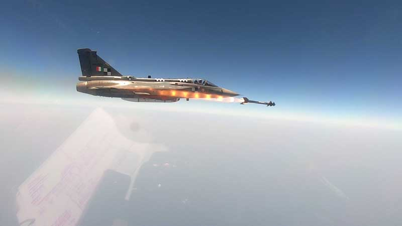 Tejas, India's indigenous Light Combat Aircraft, added the 5th generation Python-5 Air-to-Air Missile (AAM) in its air-to-air weapons capability. DRDO conducts maiden trial. (UNI)