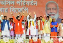 Prime Minister Narendra Modi during an election campaign rally in support of BJP party candidates for the West Bengal Assembly polls, at Rashmela Maidan in Cooch Behar district.