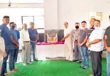 Members of Shri Guru Ravi Dass Sabha paying tributes to great social reformer, Jyotirao Phule at a function in Jammu on Sunday.