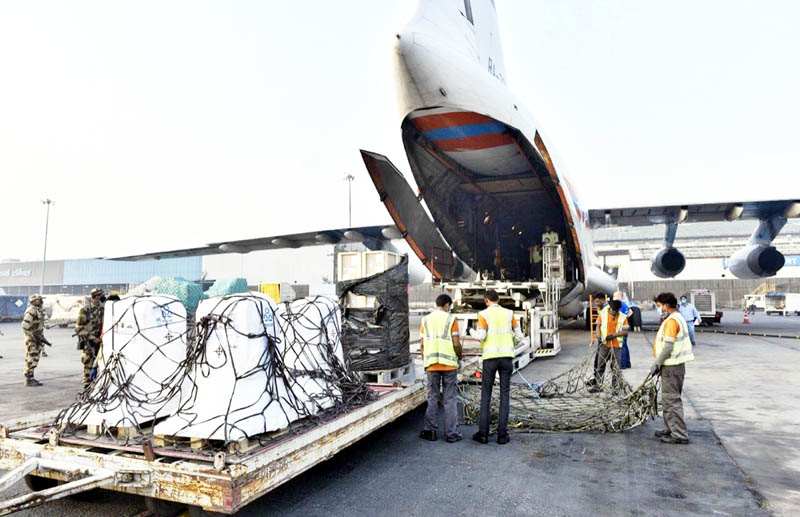 A shipment of Oxygen Concentrators,Ventilators and other Medical supplies arrived from Russia at New Delhi Airport on Thursday. (UNI)