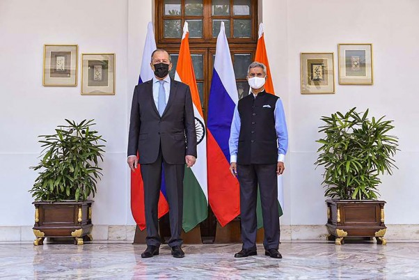 External Affairs Minister S Jaishankar welcomes Minister of Foreign Affairs of the Russian Federation Sergey Lavrov before a meeting, in New Delhi.