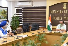 Union Minister for Health & Family Welfare, Science & Technology and Earth Sciences, Dr. Harsh Vardhan chairing the 24th meeting of the Group of Ministers (GoM) on COVID-19, through video conferencing from Nirman Bhawan, New Delhi on Friday.