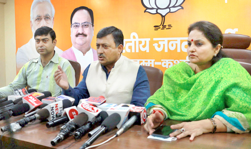 BJP leaders at a press conference at Jammu on Wednesday. -Excelsior/Rakesh