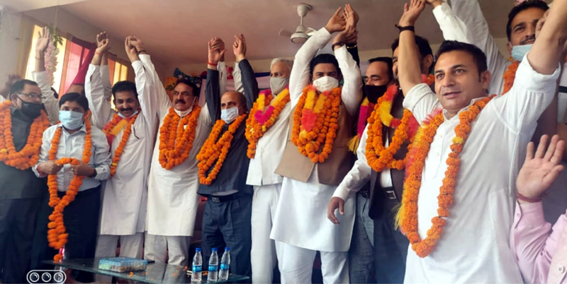 Cong leaders at party function at Billawar in Kathua on Saturday.