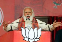 Prime Minister Narendra Modi during an election campaign rally for West Bengal Assembly polls, in Burdwan.