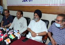 Jammu wine traders addressing a press conference on Sunday. -Excelsior/Rakesh
