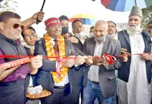 DDC Rajouri, Rajesh K Shavan and other dignitaries launching double-lanning work on Rajouri-Thannamandi-Surankote road on Sunday.